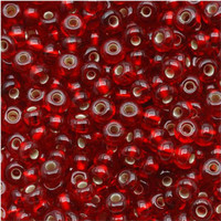 Czech Seed Beads 8/0 Ruby Silver Lined (1 ounce)