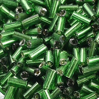 Czech Bugle Beads Size 2 Green Silver Lined (24 Grams)