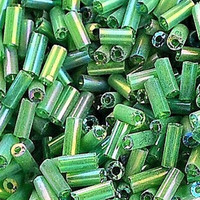 Czech Bugle Beads Size 2 Green AB (24 Grams)