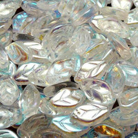 Czech Glass 7x12mm Leaf Bead, Crystal AB (50)