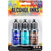 Tim Holtz Alcohol Ink .5oz 3/Pkg-Mariner-Indigo/Mermaid/Teakwood