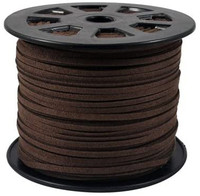 Faux Leather Suede Beading Cord, Dark Brown Bulk Roll , 300 Feet (100 Yards)
