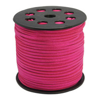 Faux Leather Suede Beading Cord, Cerise Pink Bulk Roll , 300 Feet (100 Yards)