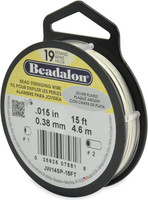 """Beadalon 19 Strand 0.015""""  15 ft  Bead Stringing Wire Silver Plated"""