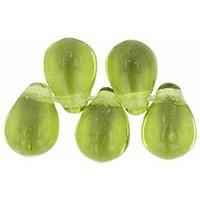 Czech Glass Beads 9mm Teardrop Olivine (50)