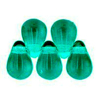 Czech Glass Beads 9mm Teardrop Teal (50)