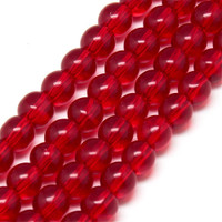 Glass Round Druk Beads 6mm Siam Ruby Red (50)
