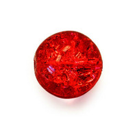 Czech Glass Druk 8mm Round Crackle Siam Ruby Red (25)