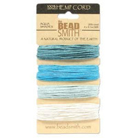 1mm Hemp Twine Bead Cord 20lb test Aqua Shades