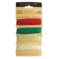 1mm Hemp Twine Bead Cord 20lb test Metallic Holiday Shades