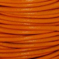 Genuine Leather Cord - 2mm - Round- Orange
