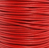 Genuine Leather Cord - 2mm - Round- Red