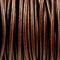 "Genuine Leather Cord - 2mm - Round- Metallic Brown ""Tamba"""