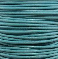 Premium Genuine Leather Cord - 2mm - Round- Turquoise
