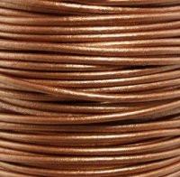 Genuine Leather Cord - 2mm - Round- Metallic Bronze