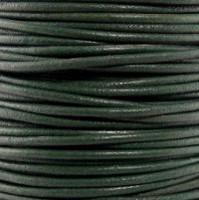 Genuine Leather Cord - 2mm - Round- Dark Green