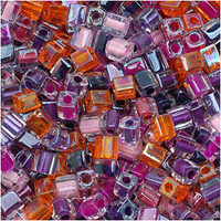Miyuki 4mm Glass Cube Beads Melonberry Mix (20 Grams)