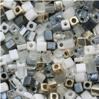 Miyuki 4mm Glass Cube Beads Apparition Mix (20 grams)