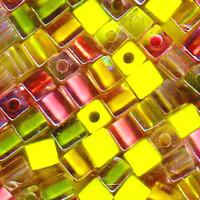 Miyuki 4mm Glass Cube Beads Pink Lemonade Mix (20 Grams)