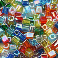 Miyuki 4mm Glass Cube Beads Transparent Rainbow AB Mix (20 Grams)