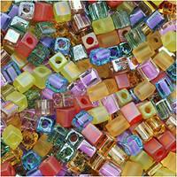 Miyuki 4mm Glass Cube Beads Prairie Mix (20 Grams)