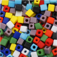 Miyuki 4mm Glass Cube Beads Opaque Matte Rainbow Mix (20 Grams)