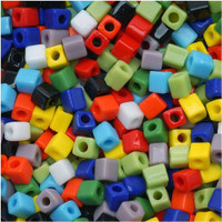 Miyuki 4mm Glass Cube Beads Opaque Rainbow Mix (20 Grams)