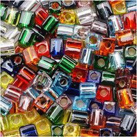 Miyuki 4mm Glass Cube Beads Rainbow Silver Lined Mix (20 Grams)