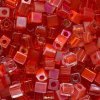 Miyuki 4mm Glass Cube Beads Red Medley Mix (20 Grams)