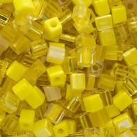 Miyuki 4mm Glass Cube Beads Yellow Medley Mix