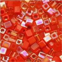 Miyuki 4mm Glass Cube Beads Orange Medley Mix (20 Grams)