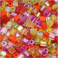 Miyuki 4mm Glass Cube Beads Tango Mix (20 Grams)