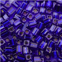 Miyuki 4mm Glass Cube Beads Cobalt Blue Silver Lined (#20) (20 Grams)