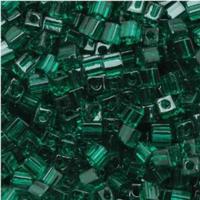 Miyuki 4mm Glass Cube Beads Transparent Emerald Green (#147) (20 grams)