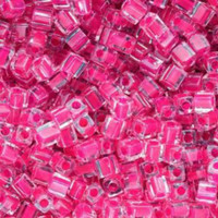 Miyuki 4mm Glass Cube Beads Fuchsia Lined Crystal (#209) (20 grams)