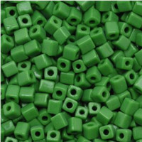Miyuki 4mm Glass Cube Beads Grass Green Opaque (#411) (20 grams)
