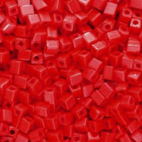 Miyuki 4mm Glass Cube Beads Red Opaque (#407) (20 grams)
