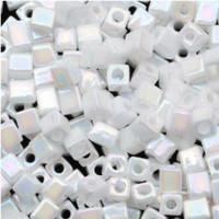 Miyuki 4mm Glass Cube Beads White Opaque AB (#402R) (20 grams)