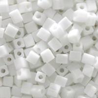 Miyuki 4mm Glass Cube Beads White Opaque (#402) (20 grams)