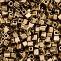 Miyuki 4mm Glass Cube Beads Metallic Bronze (#457) (20 grams)