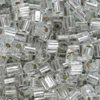Miyuki 4mm Glass Cube Beads Crystal Silver Lined (#001) (20 grams)