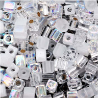 Miyuki 4mm Glass Cube Beads Crystal Medley Mix (20 Grams)