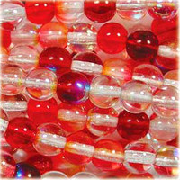 Czech Glass Druk 6mm Round Strawberry Fields Mix