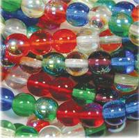 Czech Glass Druk 6mm Round Rainbow AB Mix