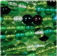 Czech Glass Druk 6mm Round Evergreen Mix