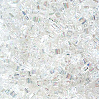 Size 11 Toho Triangle Beads, Transparent Crystal Clear AB (1 ounce)