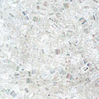 Size 11 Toho Triangle Beads, Transparent Crystal Clear AB (1 ounce)