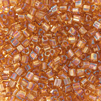 Size 11 Toho Triangle Beads, Transparent Topaz AB (1 ounce)