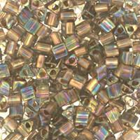 Size 8 Toho Triangle Beads, Gold Lined Black Diamond AB (1 ounce)