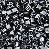 Size 8 Toho Triangle Beads, Metallic Hematite (1 ounce)